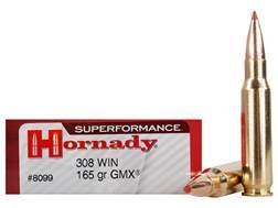 Hornady SUPERFORMANCE GMX Ammunition 308 Winchester 165 Grain Gilding Metal Expanding Boat Tail Lead-Free Box of 20
