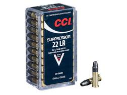 CCI Suppressor Ammunition 22 Long Rifle 45 Grain Lead Hollow Point