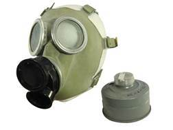 Military Surplus New Condition Polish Gas Mask with Filters and Camo Bag