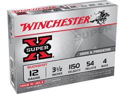 "Winchester Super-X Magnum Ammunition 12 Gauge 3-1/2"" Buffered #4 Buckshot 54 Pellets"