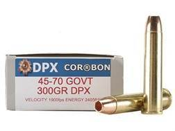 Cor-Bon DPX Hunter Ammunition 45-70 Government 300 Grain DPX Hollow Point Lead-Free Box of 20