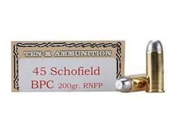 Ten-X Cowboy Ammunition 45 S&W Schofield 200 Grain Lead Round Nose Flat Point BPC Box of 50