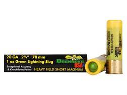 "Brenneke USA Green Lightning Heavy Field Short Magnum Ammunition 20 Gauge 2-3/4"" 1 oz Lead Rifled Slug Box of 5"