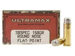 Ultramax Cowboy Action Ammunition 38 Special 158 Grain Lead Flat Nose Box of 50
