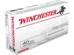 Winchester USA Ammunition 40 S&W 180 Grain Jacketed Hollow Point Box of 50