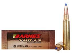 Barnes VOR-TX Ammunition 338 Winchester Magnum 225 Grain Tipped Triple-Shock X Bullet Boat Tail Lead-Free Box of 20