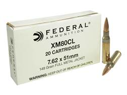 Federal Ammunition 7.62x51mm NATO 149 Grain XM80 Full Metal Jacket
