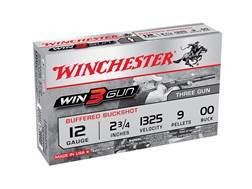 "Winchester Win3Gun Target Ammunition 12 Gauge 2-3/4"" Buffered 00 Buckshot 9 Pellets"