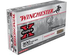 Winchester Super-X Ammunition 300 Winchester Magnum 180 Grain Power-Point