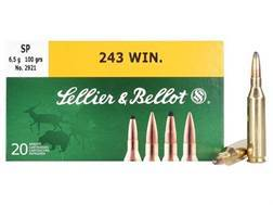 Sellier & Bellot Ammunition 243 Winchester 100 Grain Soft Point Box of 20