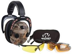 Walker's Alpha Power Muffs 360 Electronic Earmuffs (NRR 24dB) and Shooting Glasses Kit