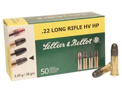 Sellier & Bellot High Velocity Ammunition 22 Long Rifle 38 Grain Lead Hollow Point Box of 50