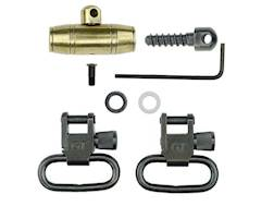 "GrovTec Muzzle Loader Sling Swivel Set Hawken Style Brass Plated Ramrod Ferrule and Sling Swivel Stud 1"" Locking Swivels Steel Black"