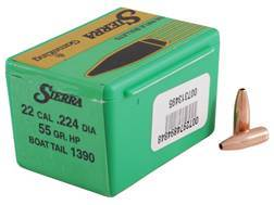 Sierra GameKing Bullets 22 Caliber (224 Diameter) 55 Grain Hollow Point Boat Tail Box of 100