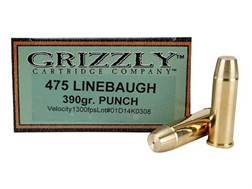 Grizzly Ammunition 475 Linebaugh 390 Grain PUNCH Flat Nose Lead-Free Box of 20