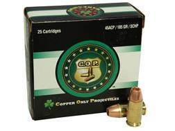 Copper Only Projectiles (C.O.P.) Ammunition 45 ACP 185 Grain Solid Copper Hollow Point Lead-Free Box of 25