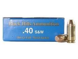 Black Hills Remanufactured Ammunition 40 S&W 180 Grain Full Metal Jacket Box of 50
