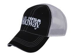 MidwayUSA Mesh Back Cap Cotton Black Front White Mesh Back