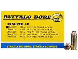 Buffalo Bore Ammunition 38 Super +P 115 Grain Jacketed Hollow Point Box of 20