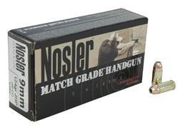 Nosler Match Grade Ammunition 9mm Luger 124 Grain Jacketed Hollow Point Box of 50