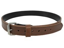 "Lenwood Leather Hybrid Belt 1-1/2"" Steel Buckle Leather and PVC Brown 42"""