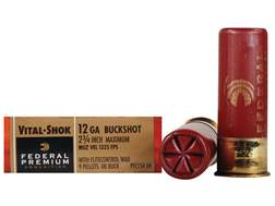 "Federal Premium Vital-Shok Ammunition 12 Gauge 2-3/4"" Buffered 00 Copper Plated Buckshot 9 Pellets Flitecontrol Wad Box of 5"