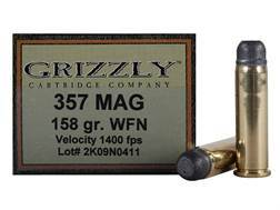 Grizzly Ammunition 357 Magnum 158 Grain Lead Wide Flat Nose Box of 20