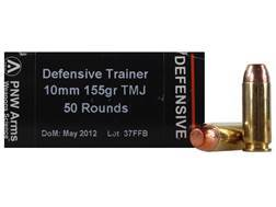 PNW Arms Defensive Training Ammunition 10mm Auto 155 Grain Total Metal Jacket Box of 50