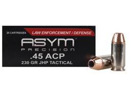 ASYM Precision Tactical Ammunition 45 ACP 230 Grain Jacketed Hollow Point Box of 20