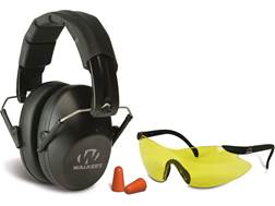 Walker's Pro-Low Profile Folding Earmuffs (NRR 31 dB) and Shootng Glasses Kit Black