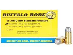 Buffalo Bore Ammunition 45 Auto Rim (Not ACP) 255 Grain Hardcast Flat Nose Box of 20
