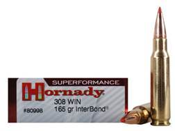 Hornady SUPERFORMANCE Ammunition 308 Winchester 165 Grain InterBond Boat Tail Box of 20