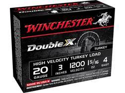 "Winchester Double X Turkey Ammunition 20 Gauge 3"" 1-5/16 oz #4 Copper Plated Shot"