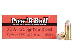 Glaser Pow'RBall Ammunition 32 ACP 55 Grain Box of 20