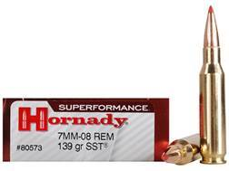 Hornady SUPERFORMANCE SST Ammunition 7mm-08 Remington 139 Grain SST Box of 20
