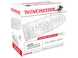 Winchester USA Ammunition 45 ACP 230 Grain Full Metal Jacket Case of 600 (3 Boxes of 200)