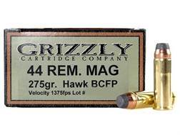 Grizzly Ammunition 44 Remington Magnum 275 Grain Bonded Core Jacketed Flat Point Box of 20