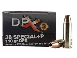 Cor-Bon DPX Ammunition 38 Special +P 110 Grain DPX Hollow Point Lead-Free Box of 20