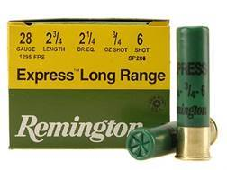 "Remington Express Long Range Ammunition 28 Gauge 2-3/4"" 3/4 oz #6 Shot Box of 25"