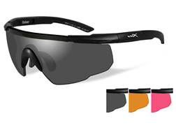 Wiley X Saber Advanced Shooting Glasses Matte Black Frame Smoke Gray, Light Rust and Vermillion Lenses