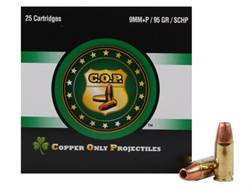 Copper Only Projectiles (C.O.P.) Ammunition 9mm Luger +P 95 Grain Solid Copper Hollow Point Box of 25