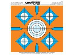 """Champion Re-Stick 5 Bull Blue and Orange Self-Adhesive Targets 14.5"""" x 14.5"""" Paper Pack of 25"""
