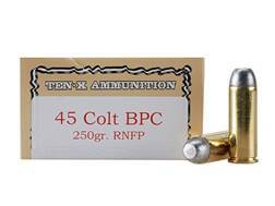 Ten-X Cowboy Ammunition 45 Colt (Long Colt) 250 Grain Lead Round Nose Flat Point BPC Box of 50