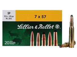 Sellier & Bellot Ammunition 7x57mm (7mm Mauser) 139 Grain Soft Point Box of 20