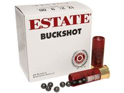 "Estate Ammunition 12 Gauge 2-3/4"" 00 Buckshot 9 Pellets Box of 25"