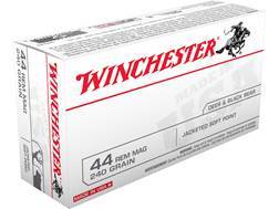 Winchester USA Ammunition 44 Remington Magnum 240 Grain Jacketed Soft Point Box of 50