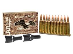Federal American Eagle Ammunition 5.56x45mm NATO 55 Grain XM193 Full Metal Jacket Boat Tail in 10 Ro