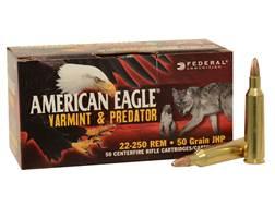 Federal American Eagle Ammunition 22-250 Remington 50 Grain Hollow Point Box of 50