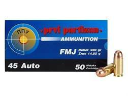 Prvi Partizan Ammunition 45 ACP 230 Grain Full Metal Jacket Box of 50