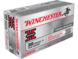 Winchester Super-X Ammunition 38 Special +P 158 Grain Lead Hollow Point Semi-Wadcutter Box of 50